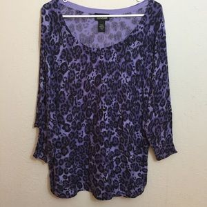 Lane Bryant Purple Animal Print Light Sweater